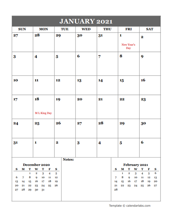 2021 Google Docs Monthly Planner - Free Printable Templates
