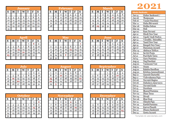 2021 Hindu Festivals Calendar Template