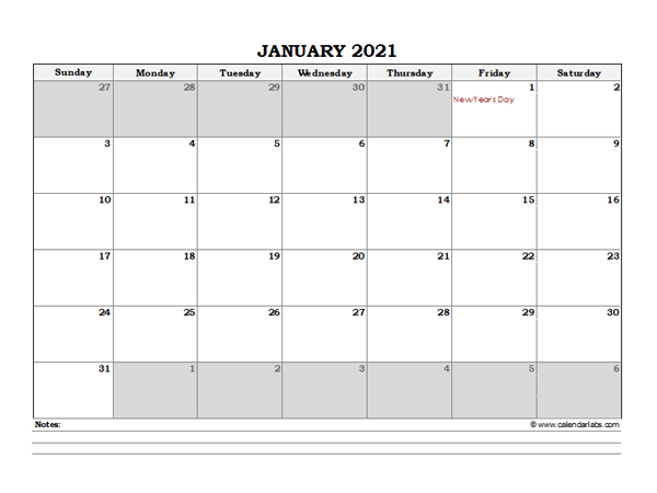 2021 Hong Kong Monthly Calendar with Notes