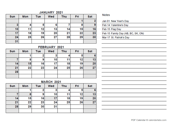 2021 Hong Kong Quarterly Calendar with Holidays