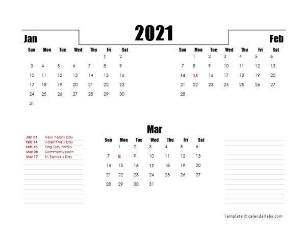 2021 Hong Kong Quarterly Planner Template