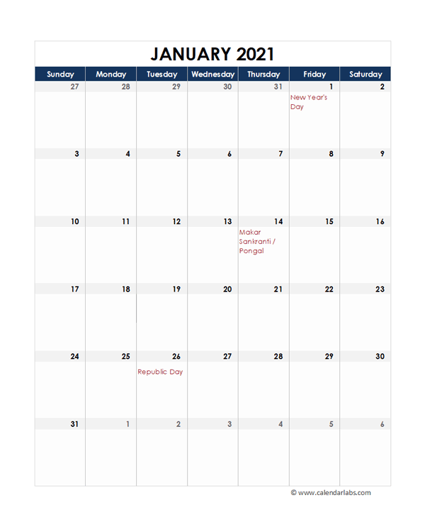 2021 India Calendar Spreadsheet Template - Free Printable ...