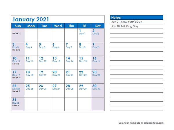 2021 Julian Date Calendar