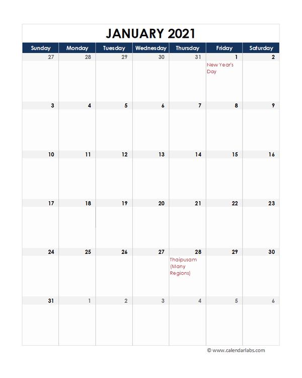 2021 Malaysia Calendar Spreadsheet Template - Free ...