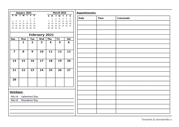 2021 Monthly Appointment Calendar Template   Free Printable Templates