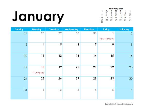 2021 Calendar Colorful Design - Free Printable Templates