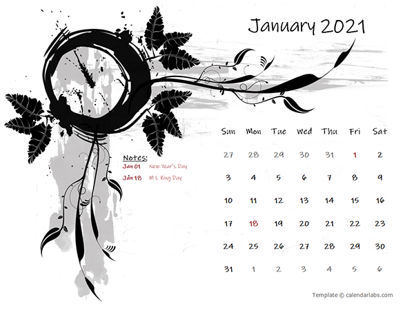 2021 Monthly Calendar Design Template
