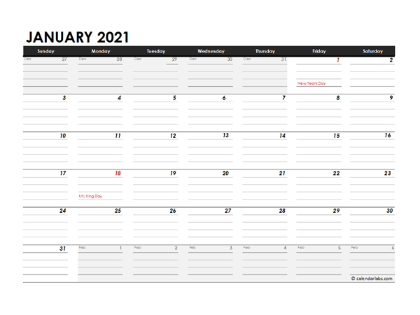 Editable 2021 Monthly Calendar Excel Template