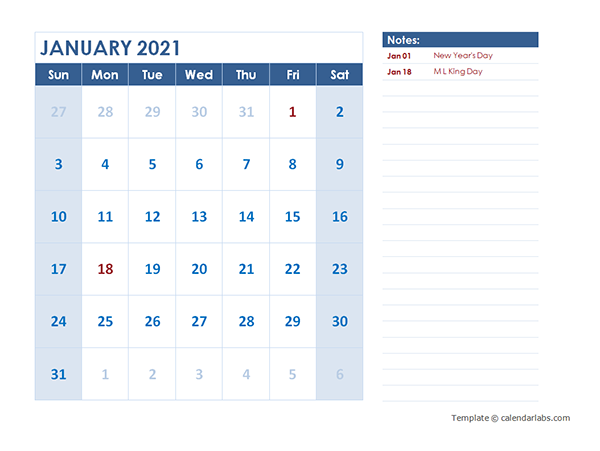 2021 Monthly Calendar Template Landscape - Free Printable ...