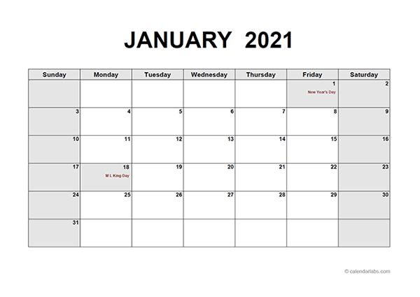 2021 Monthly Calendar PDF