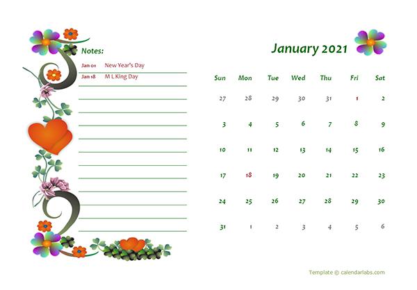 2021 Monthly Calendar Template Design