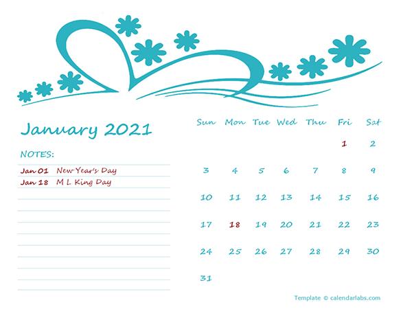 2021 Monthly Calendar Template Kindergarten