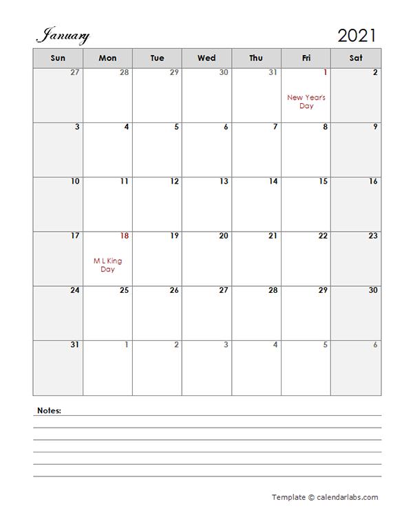 2021 Calendar Template Large Boxes - Free Printable Templates