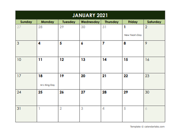 2021 monthly google docs calendar template