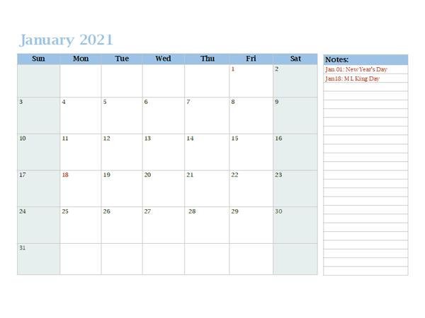 2021 Monthly OneNote Calendar