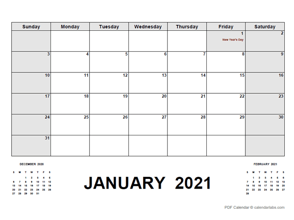 2021 Monthly Planner with UAE Holidays