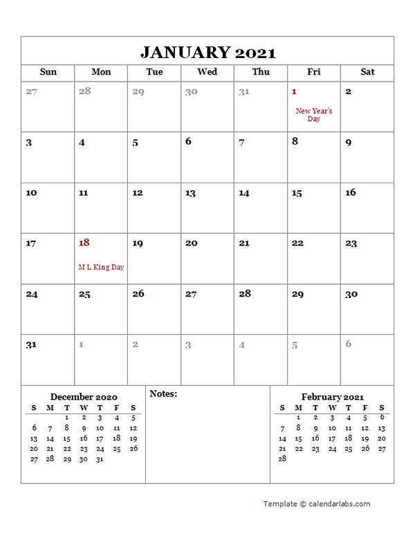2021 Monthly Planner with US Holidays