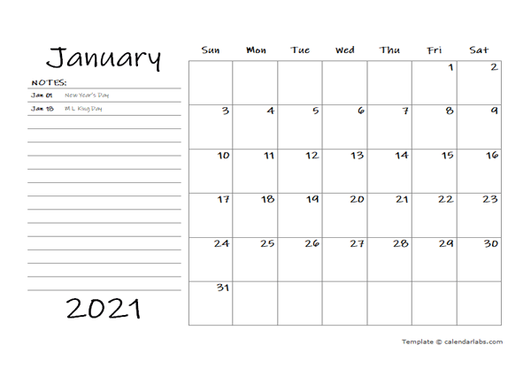 2021 Monthly Schedule Word Template