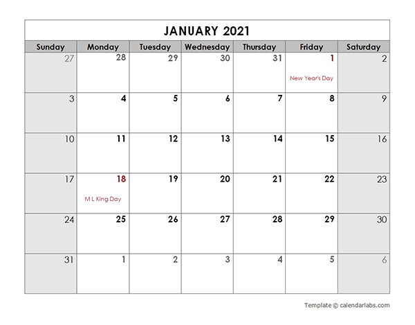 2021 Monthly Calendar with US Holidays   Free Printable Templates