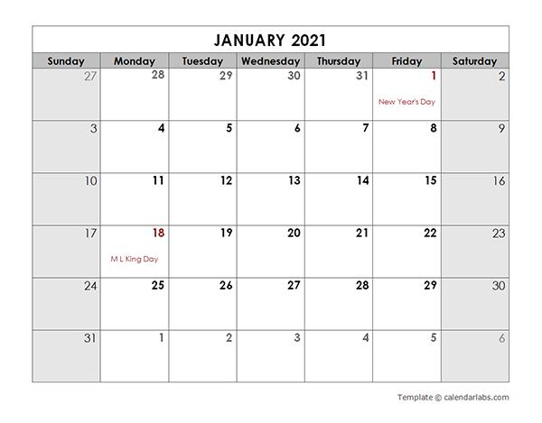 2021 Calendar Template Calendarlabs Images