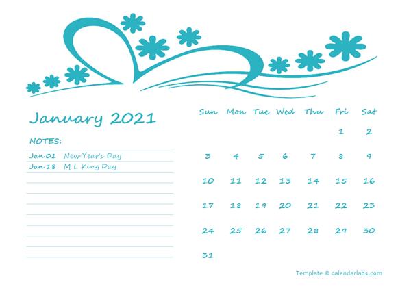 2021 Word Calendar Template for Kindergarten