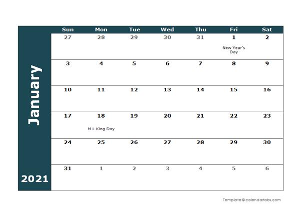 2021 Monthly Word Calendar Landscape Format - Free ...