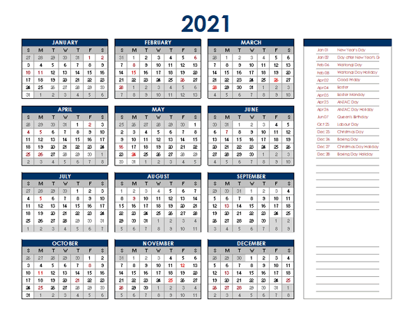 2021 New Zealand Annual Calendar with Holidays - Free ...