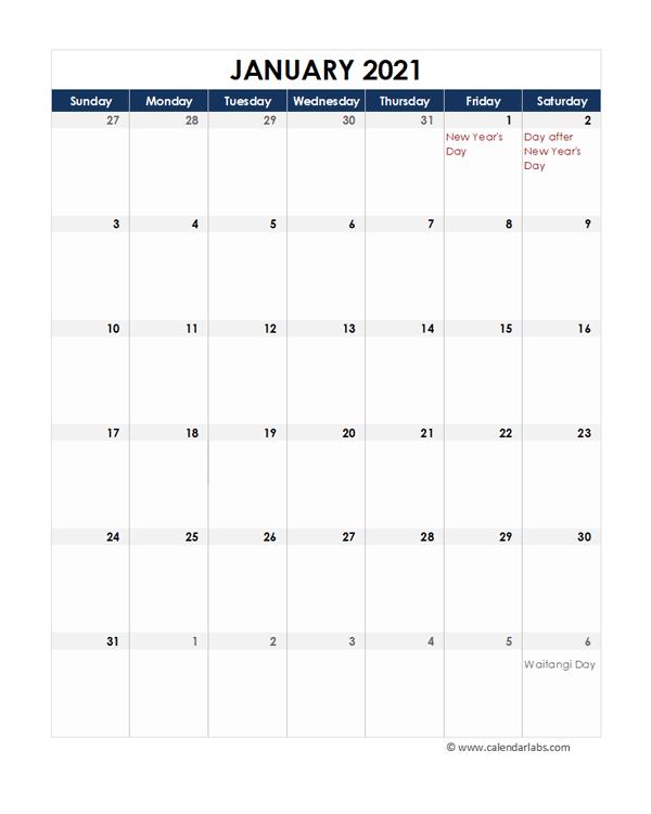 2021 New Zealand Calendar Spreadsheet Template