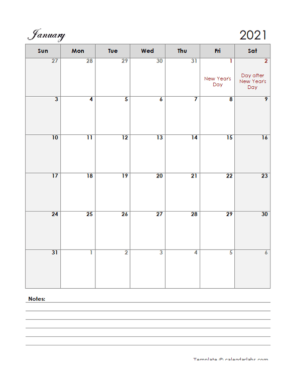 2021 New Zealand Calendar Template Large Boxes