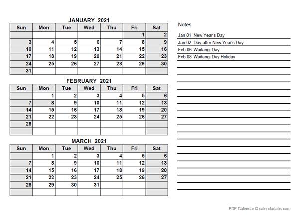 2021 New Zealand Quarterly Calendar with Holidays - Free ...