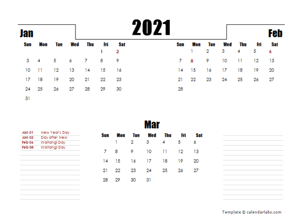 2021 New Zealand Quarterly Planner Template
