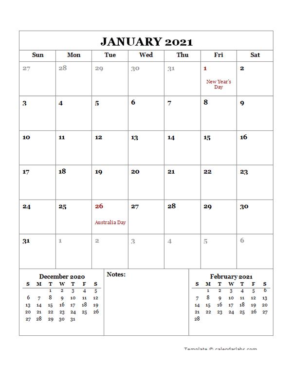 2021 Printable Calendar with Australia Holidays - Free ...