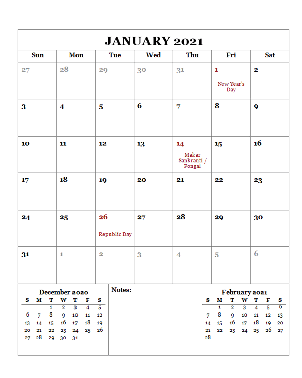 2021 Printable Calendar with India Holidays - Free ...