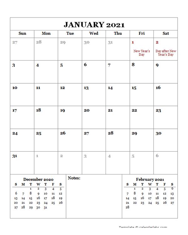 2021 Printable Calendar with New Zealand Holidays