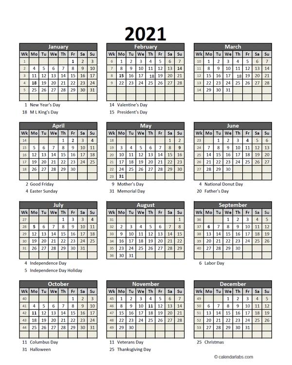 2021 Printable Calendar With Holidays - Free Printable ...