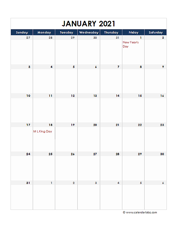 2021 Printable Calendar With large Boxes