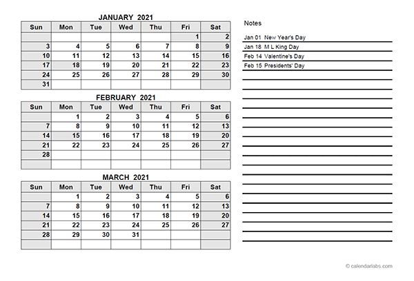 2021 Printable Calendar With Notes