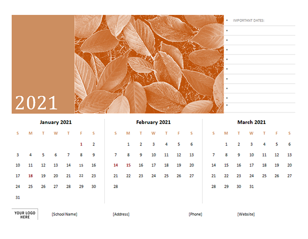 2021 Printable Three Months Calendar