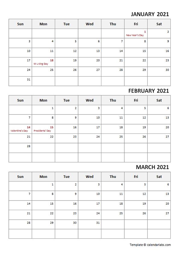 2021 Three Month Calendar Template