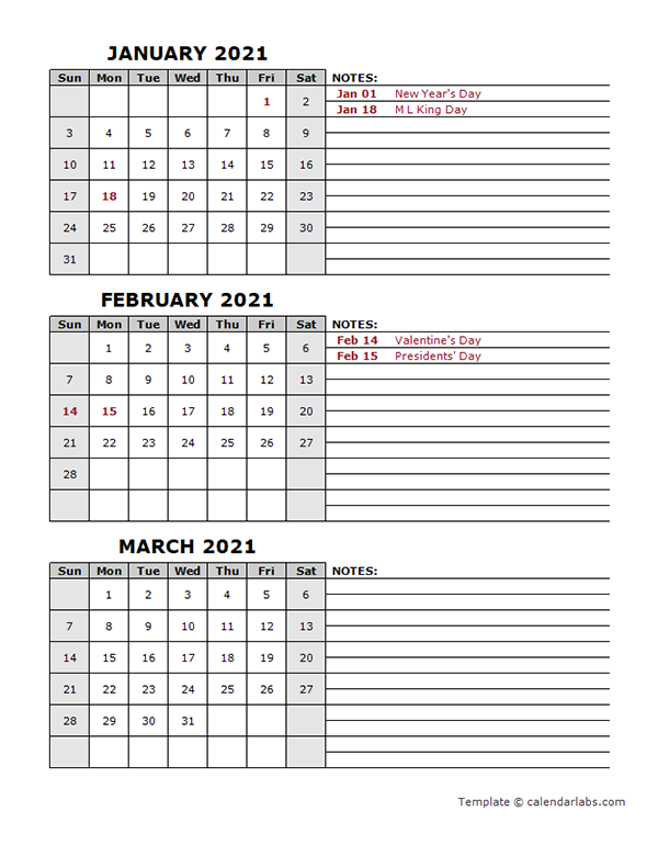 2021 Quarterly Calendar With Holidays   Free Printable Templates