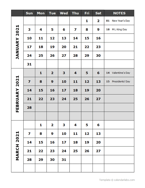 2021 Quarterly Events Calendar Word Template
