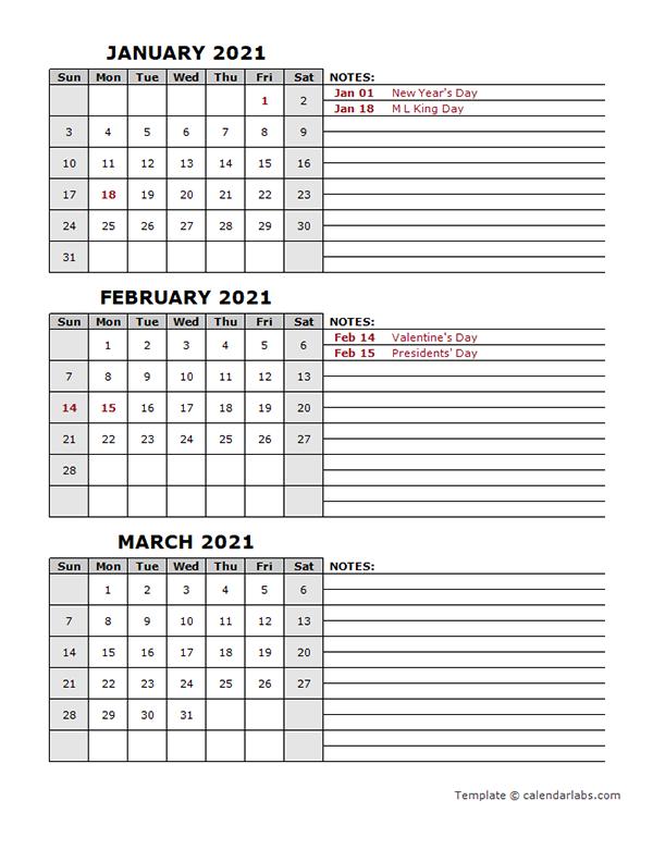 2021 Quarterly Word Calendar With Holidays
