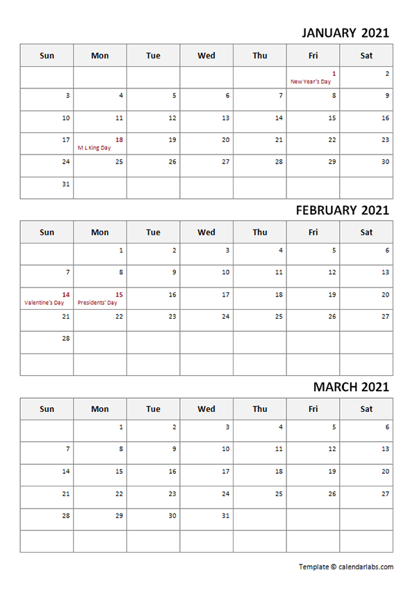 2021 Quarterly Word Calendar Template with Notes