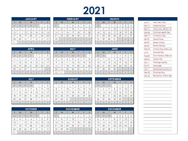 2021 Singapore Annual Calendar with Holidays