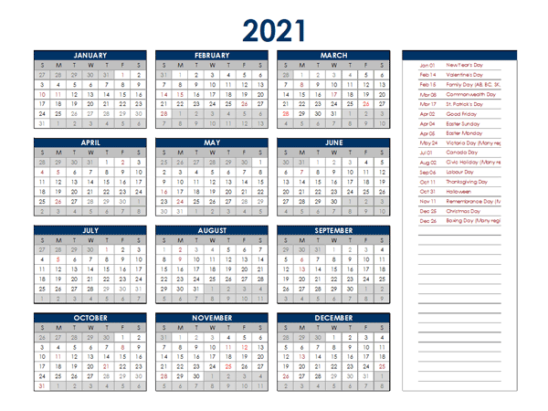 2021 South Africa Annual Calendar with Holidays - Free ...