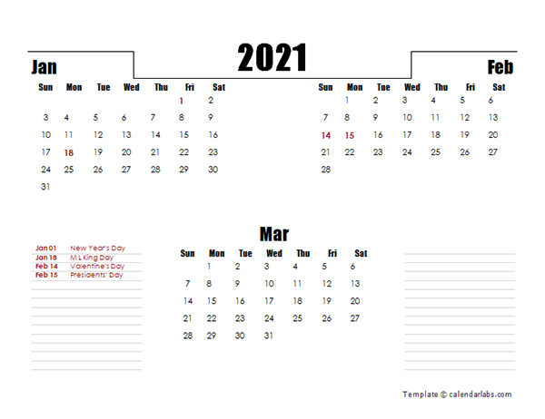 2021 Quarterly Three Month Calendar - Free Printable Templates