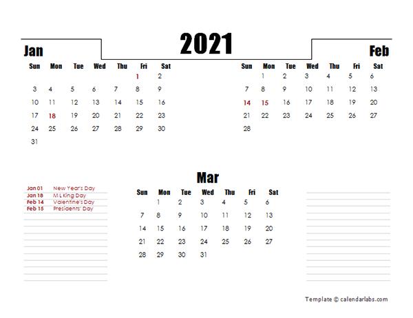2021 Three Months Word Calendar Template