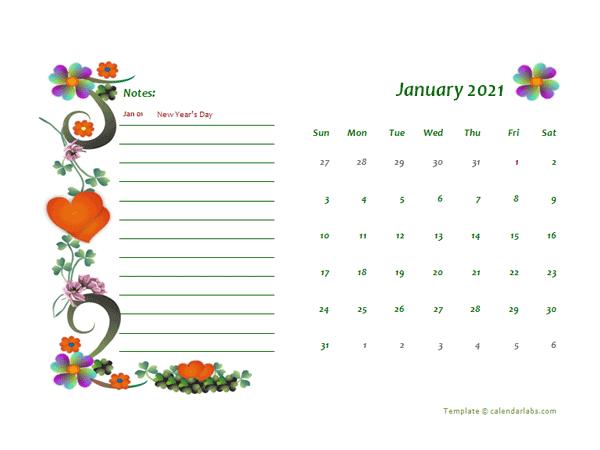 2021 UAE Calendar Free Printable Template