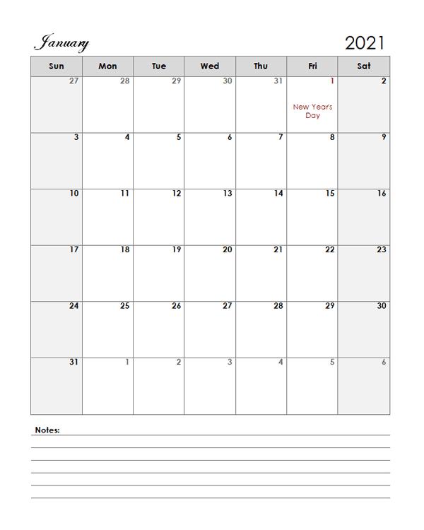 2021 UAE Calendar Template Large Boxes