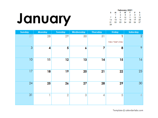2021 UAE Monthly Calendar Colorful Design